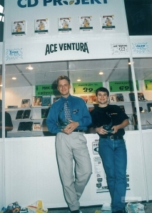MarcinIwinskI_MichalKicinski_at_game_expor_GAMBLERIADA_in_1997__Warsaw_.jpg